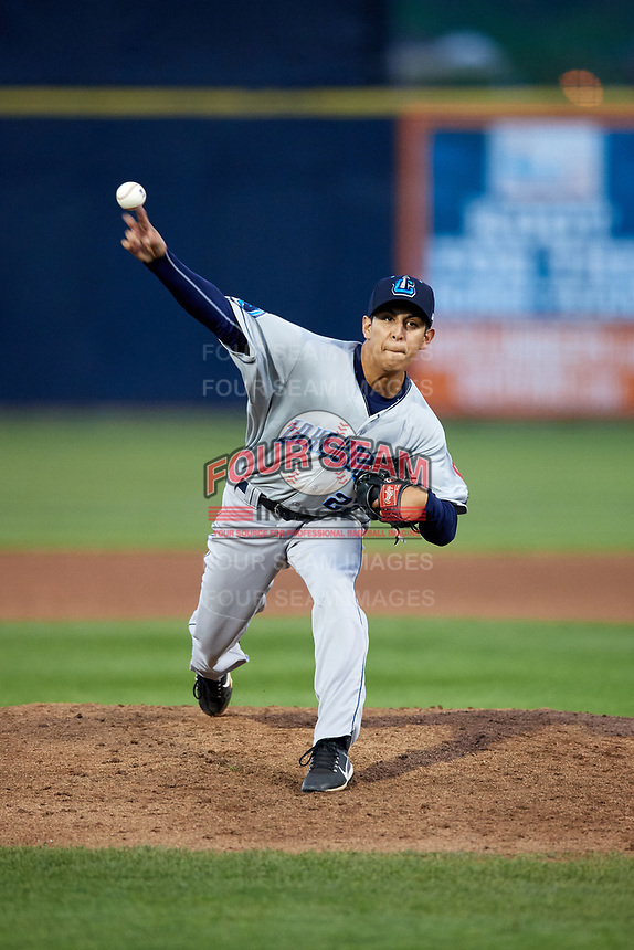 Lake County Captains starting pitcher Justin Garza (23) delivers a pitch during a game against the Quad Cities River Bandits on May 6, 2017 at Modern Woodmen Park in Davenport, Iowa.  Lake County defeated Quad Cities 13-3.  (Mike Janes/Four Seam Images)