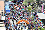 The start of Stage 7 of the 2018 Giro d'Italia, a flat stage running 159km from Pizzo to Praia a Mare, Italy. 11th May 2018.<br /> Picture: LaPresse/Massimo Paolone | Cyclefile<br /> <br /> <br /> All photos usage must carry mandatory copyright credit (&copy; Cyclefile | LaPresse/Massimo Paolone)
