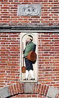 Detail van de gevel van het Korendragershuisje in Franeker