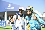 Vittorio Brumotti with H.E. Saeed Hareb at sign on before the start of Stage 1 The Nakheel Stage of the Dubai Tour 2018 the Dubai Tour&rsquo;s 5th edition, running 167km from Skydive Dubai to Palm Jumeirah, Dubai, United Arab Emirates. 6th February 2018.<br /> Picture: LaPresse/Fabio Ferrari | Cyclefile<br /> <br /> <br /> All photos usage must carry mandatory copyright credit (&copy; Cyclefile | LaPresse/Fabio Ferrari)