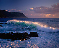 Waves Breaking at Yokohama Bay, Oahu, Hawaii, USA.