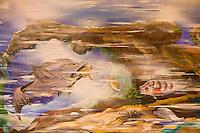 """Europe/France/Provence-Alpes-Côte d'Azur/13/Bouches-du-Rhône/Marseille: Restaurant """"Miramar"""" 12 quai du Port  détail de la fresque murale représentant le monde sous -marin et les poissons de la bouillabaisse-Années 1960"""
