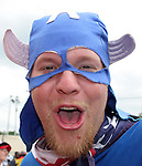 22 June 2006: A U.S. fan dressed up as Captain America. Ghana played the United States at the Frankenstadion in Nuremberg, Germany in match 42, a Group E first round game, of the 2006 FIFA World Cup.