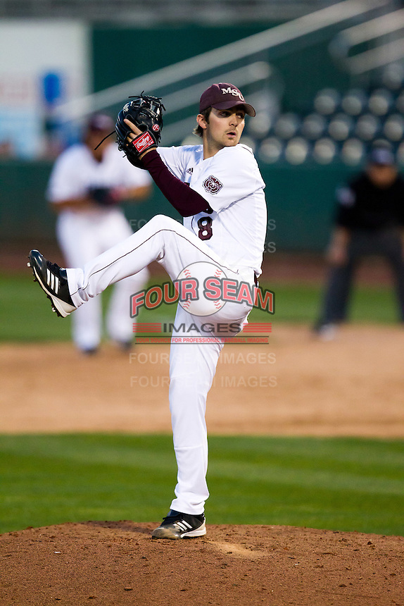 Clay Murphy (8) of the Missouri State Bears winds up during a game against the Oklahoma State Cowboys at Hammons Field on March 6, 2012 in Springfield, Missouri. (David Welker / Four Seam Images)