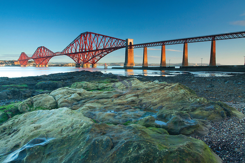 The Forth Road Bridge and the Firth of Forth from Hawes Pier, Queensferry, Lothian