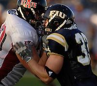 Florida International University Golden Panthers (0-5, 0-2) football versus Arkansas State University Indians (2-2, 1-0) at Miami, Florida on Saturday, September 30, 2006.  The Indians defeated the Golden Panthers 31-6...Freshman linebacker Matt Garris (33)