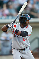 Yandy Diaz (9) of the Carolina Mudcats at bat against the Winston-Salem Dash at BB&T Ballpark on June 6, 2014 in Winston-Salem, North Carolina.  The Mudcats defeated the Dash 3-1.  (Brian Westerholt/Four Seam Images)