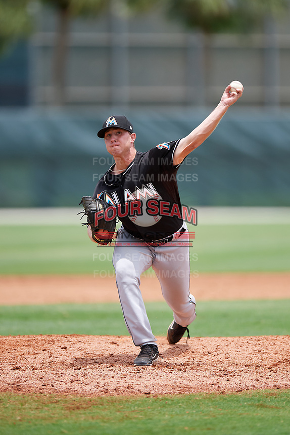 GCL Marlins relief pitcher Doug Domnarski (68) delivers a pitch during the second game of a doubleheader against the GCL Nationals on July 23, 2017 at Roger Dean Stadium Complex in Jupiter, Florida.  GCL Nationals defeated the GCL Marlins 1-0.  (Mike Janes/Four Seam Images)