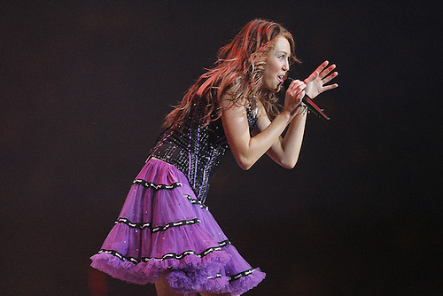 Miley Cyrus performs at the 2008 Houston Livestock Show and Rodeo  at Reliant Stadium.  (Sunday, March 9, 2008, in Houston. ( Steve Campbell / Houston Chronicle)