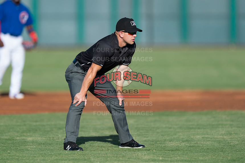 Field umpire Glen Meyerhofer during an Arizona League game between the AZL Cubs 1 and the AZL Indians 1 at Sloan Park on August 27, 2018 in Mesa, Arizona. The AZL Cubs 1 defeated the AZL Indians 1 by a score of 3-2. (Zachary Lucy/Four Seam Images)