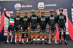 Italian Champion Davide Formolo (ITA) and Bora-Hansgrohe team at sign on before the start of the world's oldest classic the 100th edition of Milano-Torino running 179km from Magenta to the Basilica at Superga in Turin, Italy. 9th Octobre 2019. <br /> Picture: LaPresse | Cyclefile<br /> <br /> All photos usage must carry mandatory copyright credit (© Cyclefile | LaPresse)