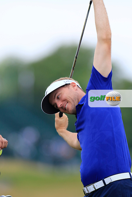 Russell HENLEY (USA) stretches out on the 2nd tee during Thursday's Round 1 of the 97th US PGA Championship 2015 held at Whistling Straits, Mosel, Kohler, Wisconsin, United States of America. 13/08/2015.<br /> Picture Eoin Clarke, www.golffile.ie