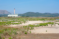 Es Murterar coal-fired power station near S'Albufera De Mallorca Natural Park, Muro and Sa Pobla, Mallorca is mainly wet grassland and marsh habitat.September 2012.