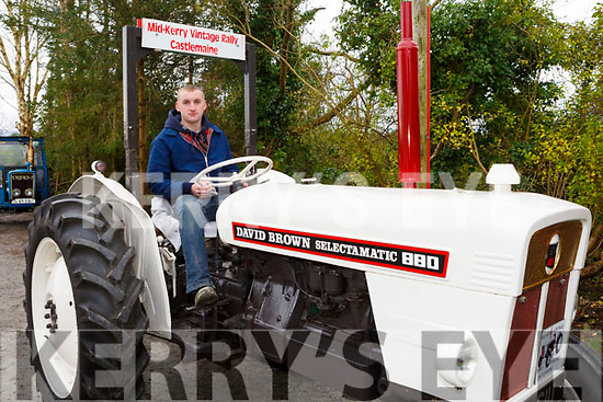 Shane Tagney (Castlemaine) with a circa 1977 David Browne 880 tractor in the James Ashe Memorial Tractor Run at the Anvil Bar, Boolteens on Sunday last.