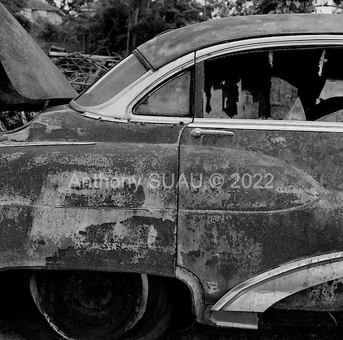 Saint Bernard's Parish, Louisiana.July 27, 2006.A car one year after Hurricane Katrina broke the levees flooding 80% of New Orleans..