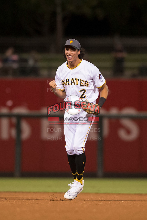 AFL West shortstop Cole Tucker (2), of the Surprise Saguaros and the Pittsburgh Pirates organization, reacts to the umpire's call after a stolen base attempt during the Fall Stars game at Surprise Stadium on November 3, 2018 in Surprise, Arizona. The AFL West defeated the AFL East 7-6 . (Zachary Lucy/Four Seam Images)