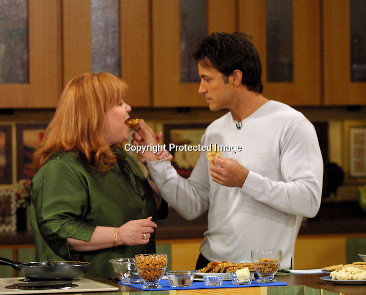 ©2002 KATHY HUTCHINS / HUTCHINS PHOTO.SOAPTALK TAPING.LOS ANGELES, CA  6/29/02. PATRIKA DARBO.TY TREADWAY.WITH MRS. FIELDS  CONTEST RECIPE BEING TESTED!