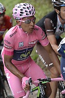 ITALIA - 29-05-2014. Nayro Quintana, ciclista colombiano del equipo Movistar, durante etapa 18 entre Belluno y Panarotta sobre 171 kilómetros, en la versión 97 del Giro de Italia / Nayro Quintana, Colombian cyclist of the MovistarTeam during the stage 18 between Belluno and Panarotta about 171 kilometers, in version 97 of the Giro d'Italia.    Photo: VizzorImage/ Fabio Ferrari / LaPresse……….VIZZORIMAGE PROVIDES THE ACCESS TO THIS PHOTOGRAPH ONLY AS A PRESS AND EDITORIAL SERVICE AND NOT IS THE OWNER OF COPYRIGHT; ANOTHER USE HAVE ADDITIONAL PERMITS AND IS  REPONSABILITY OF THE END USER