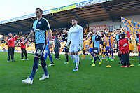Wycombe Wanderers captain Paul Hayes leads out his team prior to the Sky Bet League 2 match between Mansfield Town and Wycombe Wanderers at the One Call Stadium, Mansfield, England on 31 October 2015. Photo by Garry Griffiths.