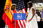 "Queen Letizia of Spain and EEUU First Lady Michelle Obama during the speech of ""Let Girls Learn"" at Matadero in Madrid. June 30. 2016. (ALTERPHOTOS/Borja B.Hojas)"