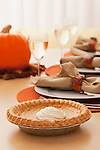 USA, Illinois, Metamora, Dining table with pumpkin pie