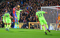Loris Karius of Liverpool cannot stop a James McArthur of Crystal Palace header scoring his second goal during the EPL - Premier League match between Crystal Palace and Liverpool at Selhurst Park, London, England on 29 October 2016. Photo by Steve McCarthy.