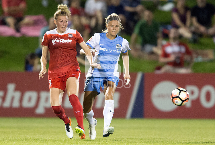 Boyds, MD - Saturday April 29, 2017: Kassey Kallman, Rachel Daly during a regular season National Women's Soccer League (NWSL) match between the Washington Spirit and the Houston Dash at Maureen Hendricks Field, Maryland SoccerPlex. The Dash won 1-0.