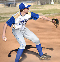 Westside Eagle Observer/MIKE ECKELS<br /> <br /> After picking up a ground ball, Bulldog third baseman Trevor Gridner gets ready to throw to second base for an out during the Decatur-Mulberry baseball game at Edmiston ball park Friday night.
