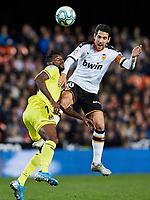 30th November 2019; Mestalla, Valencia, Spain; La Liga Football, Valencia versus Villareal; Dani Parejo of Valencia CF wins a high ball from Andre Frank Zambo Anguissa of Villarreal CF - Editorial Use