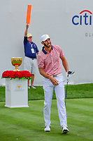 Dustin Johnson (USA) watches his tee shot on 1 during round 2 Four-Ball of the 2017 President's Cup, Liberty National Golf Club, Jersey City, New Jersey, USA. 9/29/2017.<br /> Picture: Golffile | Ken Murray<br /> <br /> All photo usage must carry mandatory copyright credit (&copy; Golffile | Ken Murray)