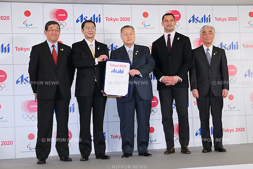 (L to R) <br /> Yasushi Yamawaki, <br />  Akiyoshi Koji, <br /> Yoshiro Mori, <br /> Koji Murofushi, <br /> Tsuyoshi Aoki, <br /> JANUARY 27, 2015 : <br /> Asahi Breweries has Press conference <br /> at Grand Prince Hotel New Takanawa. <br /> Asahi Breweries announced that it has entered into a partnership agreement with the Tokyo Organising Committee of the Olympic and Paralympic Games. <br /> With this agreement, Asahi Breweries becomes the gold partner. <br /> (Photo by YUTAKA/AFLO SPORT)