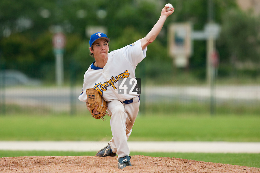 22 May 2009: Steven Vesque pitches against Montigny during the 2009 challenge de France, a tournament with the best French baseball teams - all eight elite league clubs - to determine a spot in the European Cup next year, at Montpellier, France.