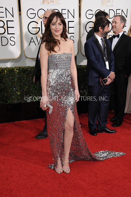 WWW.ACEPIXS.COM<br /> <br /> January 11 2015, LA<br /> <br /> Dakota Johnson arriving at the 72nd Annual Golden Globe Awards at The Beverly Hilton Hotel on January 11, 2015 in Beverly Hills, California<br /> <br /> By Line: Peter West/ACE Pictures<br /> <br /> <br /> ACE Pictures, Inc.<br /> tel: 646 769 0430<br /> Email: info@acepixs.com<br /> www.acepixs.com