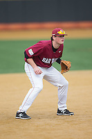 Harvard Crimson third baseman John Fallon (7) on defense against the Wake Forest Demon Deacons at David F. Couch Ballpark on March 5, 2016 in Winston-Salem, North Carolina.  The Crimson defeated the Demon Deacons 6-3.  (Brian Westerholt/Four Seam Images)