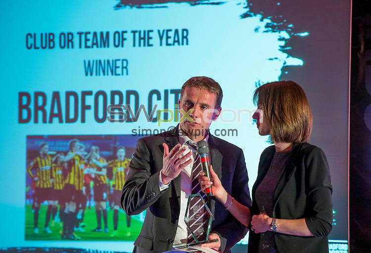 Picture by Allan McKenzie/SWpix.com - 25/02/16 - Commercial - Active Bradford Sports Awards - The Bradford Hotel, Bradford, England - Bradford City's manager Phil Parkinson is interviewed by Tanya Arnold.