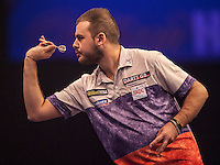 21.12.2014.  London, England.  William Hill World Darts Championship.  Qualifier Boris Koltsov [RUS] in action during his game with Kevin Painter (20) [ENG]. Painter won the match