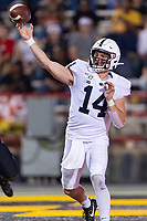 College Park, MD - SEPT 27, 2019: Penn State Nittany Lions quarterback Sean Clifford (14) throws the football during game between Maryland and Penn State at Capital One Field at Maryland Stadium in College Park, MD. The Nittany Lions beat the Terps 50-0. (Photo by Phil Peters/Media Images International)