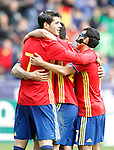 Spain's Alvaro Morata, Nolito and Pedro Rodriguez celebrate goal during friendly match. June 1,2016.(ALTERPHOTOS/Acero)