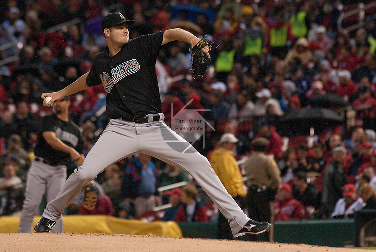 02 May 2011                                       Florida Marlins starting pitcher Chris Volstad (41) throws in the third inning. The Florida Marlins defeated the St. Louis Cardinals 6-5 on Monday May 2, 2011 in the first game of a four-game series at Busch Stadium in downtown St. Louis.