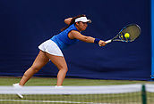 June 13th 2017, The Northern Lawn tennis Club, Manchester, England; ITF Womens tennis tournament; Akiko Omae (JPN) hits a backhand during her first round singles match against number two seed Maryna Zanevska (BEL); Zanevska won in straight sets