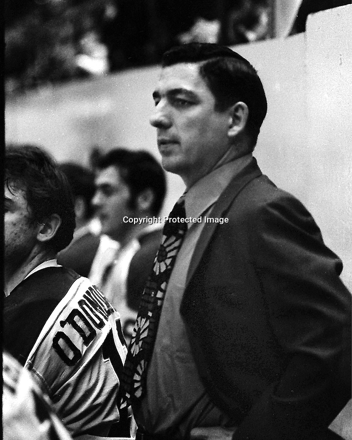 California Golden Seals coach Fred Glover (1970 photo by Ron Riesterer)