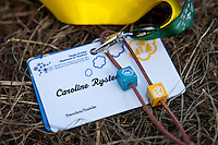 The ID-badge everybody on the camp must carry at all times and two of the wooden beads you earn by participating in activities. Photo: Kim Rask/Scouterna