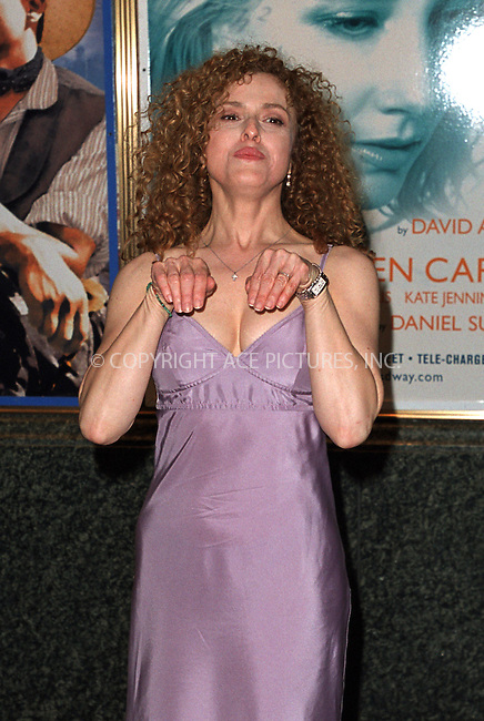 "BERNADETTE PETERS at the annual ""Broadway Barks 4!"" cat and dog adoption event to find ""homeless"" animals good homes. Shubert Alley, Broadway, New York. July 13, 2002. Please byline: Alecsey Boldeskul/NY Photo Press.   ..*PAY-PER-USE*      ....NY Photo Press:  ..phone (646) 267-6913;   ..e-mail: info@nyphotopress.com"