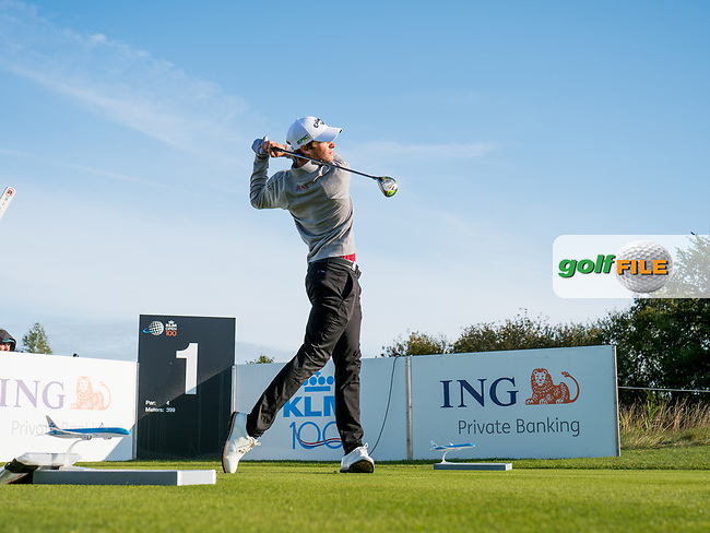 Thomas Detry (BEL) in action on the 1st hole during the 3rd round at the KLM Open, The International, Amsterdam, Badhoevedorp, Netherlands. 14/09/19.<br /> Picture Stefano Di Maria / Golffile.ie<br /> <br /> All photo usage must carry mandatory copyright credit (© Golffile | Stefano Di Maria)
