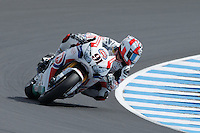 Leon Haslam (GBR) riding the Honda CBR1000RR (91) of the Pata Honda World Superbike Team rounds turn 6 during a qualifying session on day one of round one of the 2013 FIM World Superbike Championship at Phillip Island, Australia.