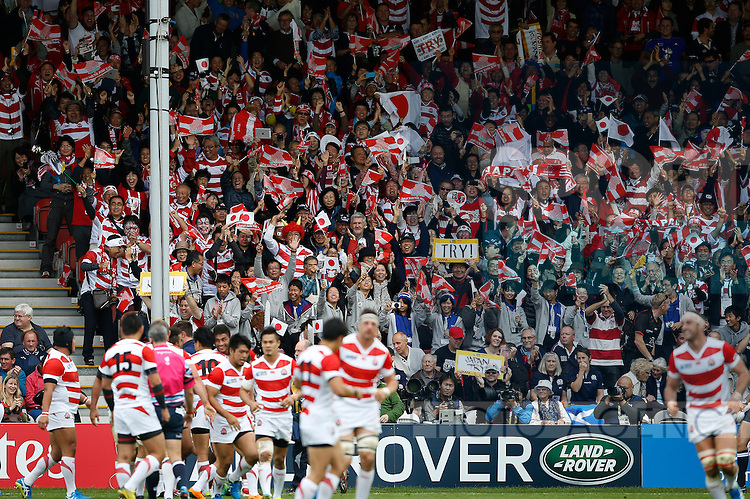 Japan fans celebrate their team scoring a try - Rugby World Cup 2015 - Pool B - Scotland vs Japan - Kingsholm Stadium - Gloucester - England - 23rd September 2015 - Picture Simon Bellis/Sportimage