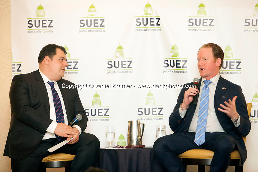 Rob O'Neill, at right, the former Navy SEAL who says he killed Osama bin Laden at the SUEZ Managers Meeting in North America held at the JW Marriott in Houston, Texas from Feb. 10-13, 2016.