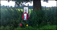 BNPS.co.uk (01202 558833)<br /> Pic: JoePinguey/BNPS.<br /> <br /> A sign now marks the field in which Pulfrey was found.<br /> <br /> The tragic tale of downed RAF Lancaster bomb aimer and the heartwarming friendship which developed between the farmer who found his body and his grieving family can be told after his medals emerged for sale.<br /> <br /> Flying Officer Leslie Pulfrey, of 103 Sqn RAF Bomber Command was killed when his Lancaster was shot down by a Luftwaffe fighter over the Netherlands on the way back from a raid on a German oil refinery.<br /> <br /> His body was found on 16th June 1944 by a Dutch farmer Gerrit Van Eerden wrapped in an unopened parachute and with bullet wounds to his neck.<br /> <br /> Only one of the crew survived the crash and Pulfrey was laid to rest with five of his comrades in the local cemetery.<br /> <br /> Fly Off Pulfrey's nephew Joe Pinguey, 67, a retired motor mechanic from Penistone, south Yorkshire, is putting his medals on the market with Sheffield Auction Gallery for &pound;1,200.