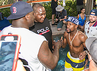 LAS VEGAS, NV - AUGUST 13: ***HOUSE COVERAGE***  Floyd Mayweather greets Shaquille O'Neal at Rehab Beach Club at Hard Rock Hotel & Casino in Las vegas, NV on August 13 2017. Credit: GDP Photos/ MediaPunch