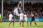 10th September 2017, Sixways Stadium, Worcester, England; Aviva Premiership Rugby, Worcester Warriors versus Wasps; Bryce Heem of Worcester Warriors jumps high to collect the ball